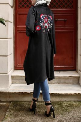 Esra Keküllüoğlu - Arkası Nakışlı Kadife Tunik - Siyah